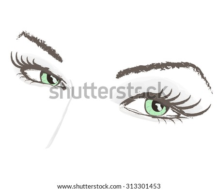 eyes lashes beauty face portrait eyebrow vector illustration