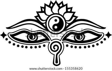 Eyes of Buddha, symbol wisdom & enlightenment, - stock vector