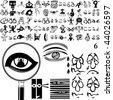 Eyes set of black sketch. Part 102-6. Isolated groups and layers. - stock vector