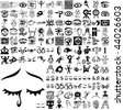 Eyes set of black sketch. Part 103-1. Isolated groups and layers. - stock vector