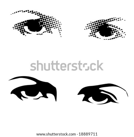 eyes silhouette and with dots - stock vector