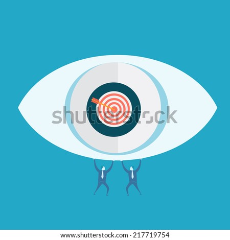Eyes target and business man  - stock vector