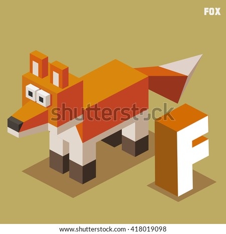 F for Fox. Animal Alphabet collection. vector illustration - stock vector