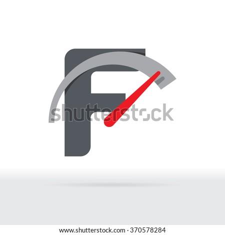 F Letter Car Speedometer, F Letter Meter Logo - stock vector