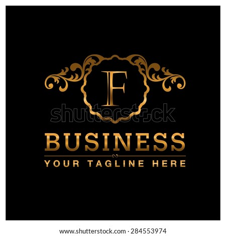 F letter Gold Luxury Logo template flourishes calligraphic elegant ornament lines. Business sign identity for Restaurant, Royalty, Cafe, Hotel, Heraldic, Jewelry, Fashion and other vector illustration