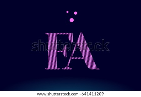 Fa F A Alphabet Letter Logo Pink Line Stripes Magenta Purple Blue Font Creative Text Dots Company