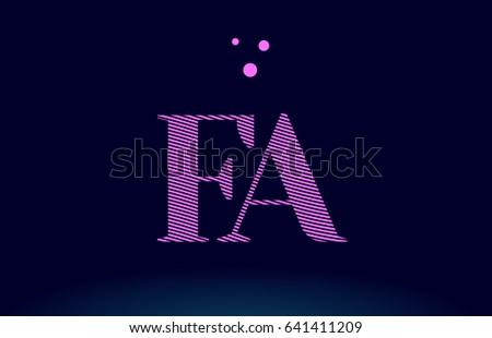 Fa F A Alphabet Letter Logo Pink Line Stripes Magenta Purple Blue Font Creative Text Dots Company
