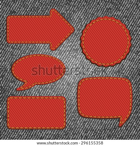 Fabric denim texture with labels. Vector illustration - stock vector
