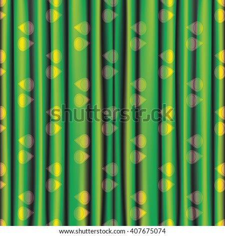 fabric green yellow shiny bright  curtain with eye pattern