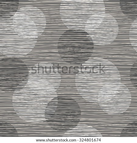 Fabric material burlap textured fibers with a pattern of circles. Seamless pattern of polka dots. - stock vector