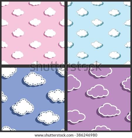 fabric pattern, textile pattern, sky pattern, clouds pattern, patterns for kids, vector pattern, kids pattern, children pattern, cartoon pattern - stock vector
