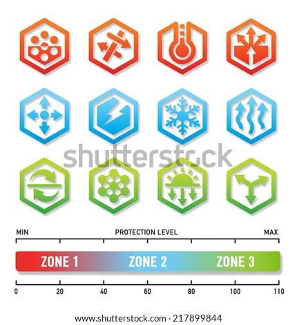 Fabric technology symbol icons - stock vector