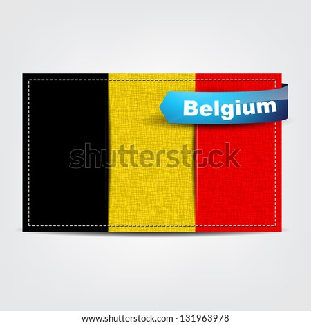 Fabric texture of the flag of Belgium with a blue bow.