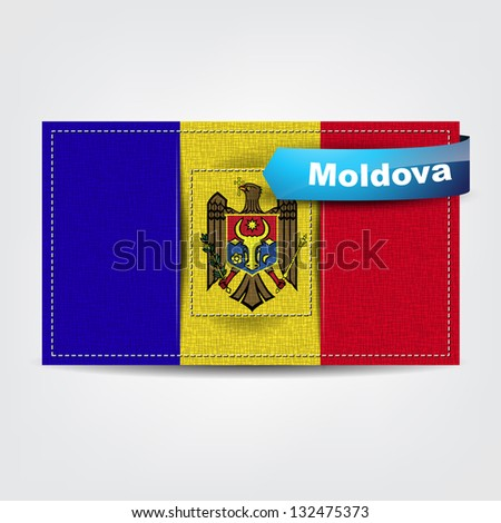 Fabric texture of the flag of Moldova with a blue bow. (Vector EPS10)