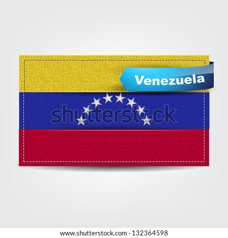 Fabric texture of the flag of Venezuela with a blue bow. (Vector eps10)