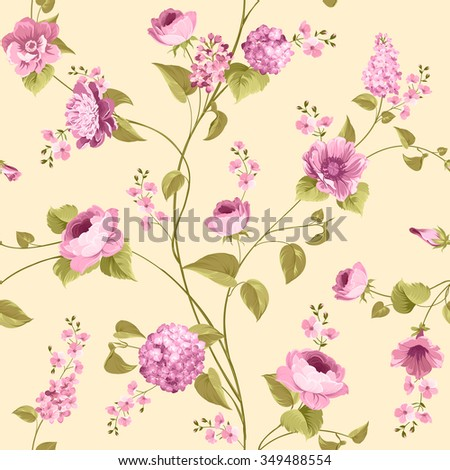 Fabric texture pattern with seamless flowers. The floral seamless pattern over light background. Flower pattern of violet hydrangea flowers over yellow background. Lilac flowers. Vector illustration. - stock vector