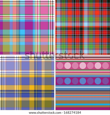 Fabric with a pattern of large color cells. - stock vector