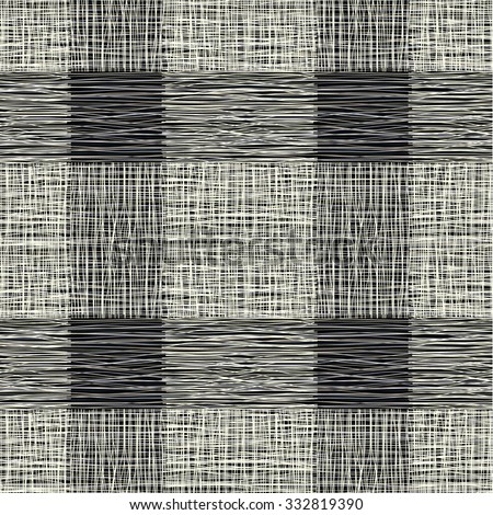 fabric with stripes, burlap, quilting, imitation natural fibers hand art work, seamless background. Gray background in a cage, squares, checkered cloth - stock vector