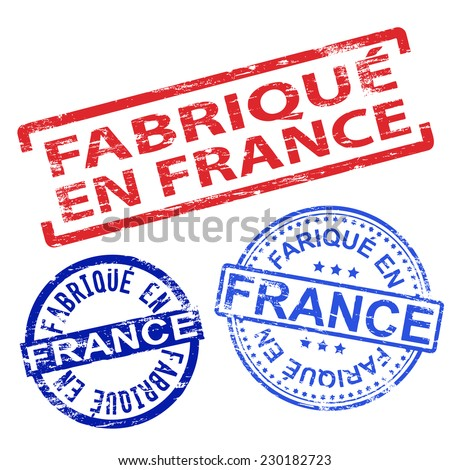 Fabrique en France. Rubber stamp vector illustrations