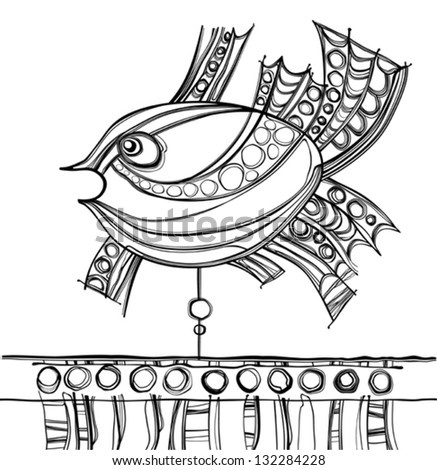 Fabulous fish. Decorative card with tracery weather vane.