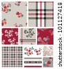 Fabulous Floral and Plaid Seamless Repeat Vector Patterns and Icons.  Great for Scrap booking or digital paper or even textile design. - stock vector