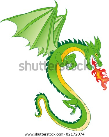 fabulous magical green fire-spitting dragon - stock vector