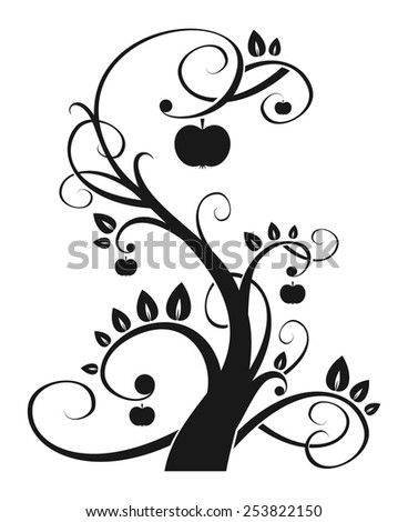 fabulous tree with apples in graphic style - stock vector
