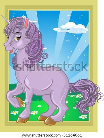 fabulous violet unicorn on the fairytale landscape - stock vector