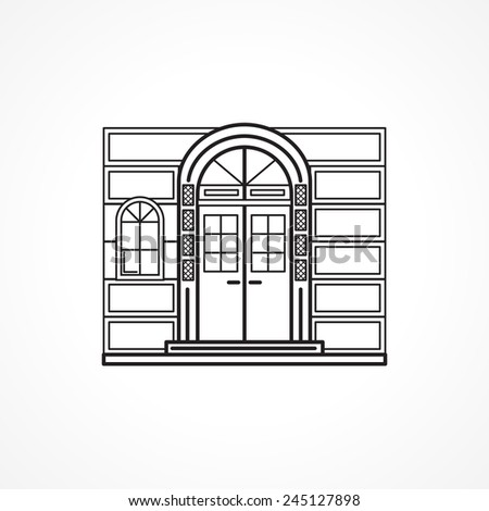 Facade arch door black line vector icon. Black flat line vector icon for facade arch door with details and window for some shop or hotel or other building on white background. - stock vector