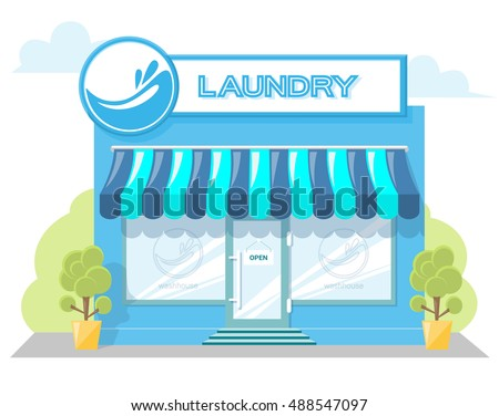 Facade Laundry Signboard With Emblem Awning And Symbol In Windows Concept Front Shop