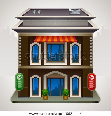 Facade of a coffee shop store or cafe - stock vector