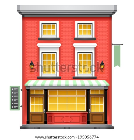 Facade of a coffee shop store or cafe. Vector eps 10. - stock vector