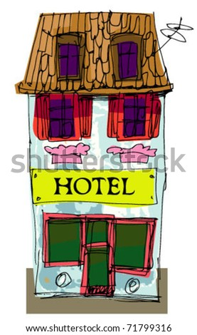 facade of little hotel - stock vector