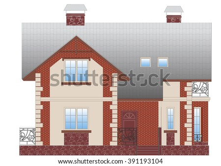 facade of the two-story house. a wall of bricks . metal railing and fencing . House on a white background .