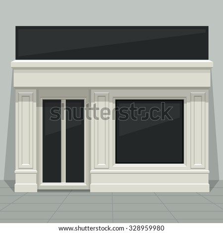 Facade shop, store, boutique with glass windows and doors, front view. Front of house. Template for outdoor advertising. Vector detailed illustration. - stock vector