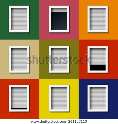 Facade with windows and colored wall. Vector image. - stock vector