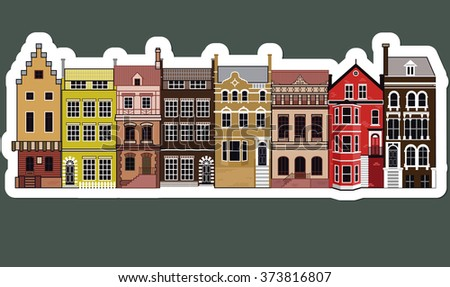 Facades of old European buildings Set