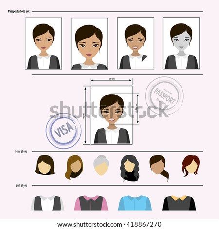 Face asian woman set,template clothes, hairstyles  vector illustration - stock vector