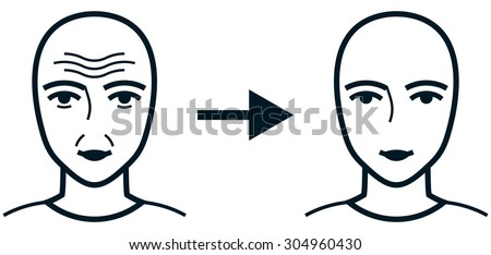 Face before and after cosmetic treatment wrinkles - stock vector