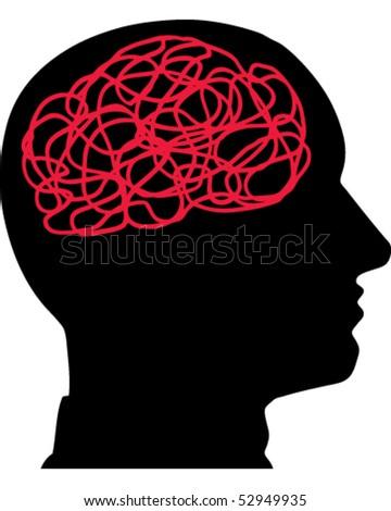 Face Brain - stock vector