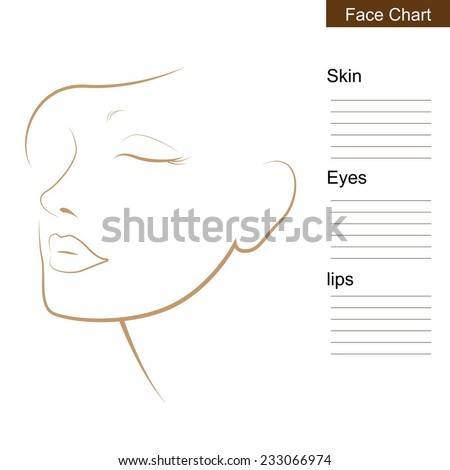 Face chart Makeup Artist Blank. - stock vector