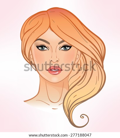 Face chart Makeup Artist Blank. Elegant Template. Stylish colorful vector Isolated illustration. Beauty spa massage. Skin, eyes, lips. Fashion magazine photo shoot template. Girls face, blonde hair.