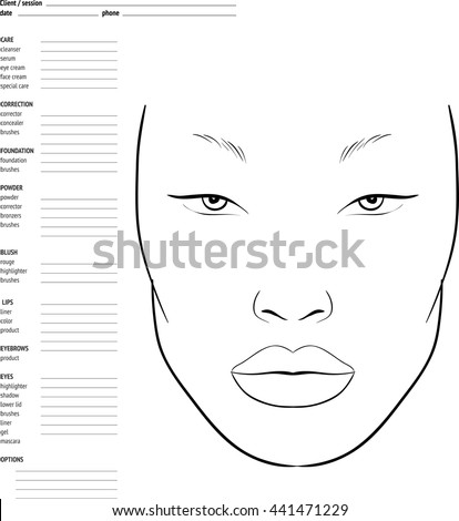 Face Chart Makeup Artist Blank Template Stock Vector (Royalty Free ...
