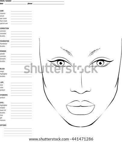 Face Chart Makeup Artist Blank Template Stock Vector 441471286 ...