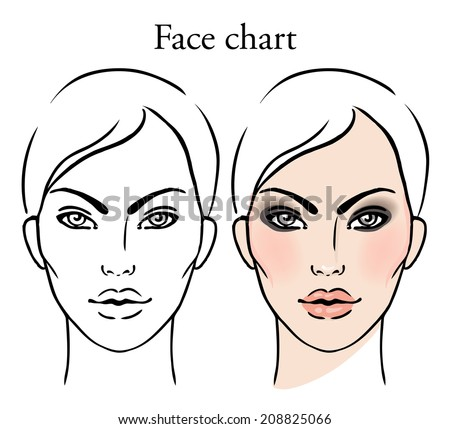 Face chart makeup artist blank template stock vector 208825066 face chart makeup artist blank template vector illustration pronofoot35fo Gallery