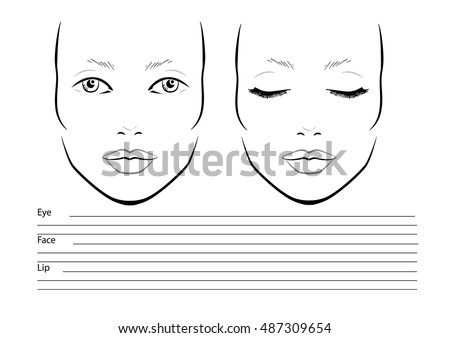 Young Woman Face Chart Makeup Artist Stock Vector
