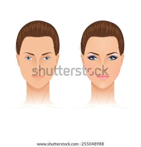 Face chart template. With and without makeup. Vector illustration. - stock vector