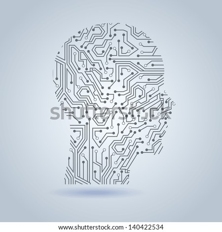 face circuit over gray background vector illustration - stock vector