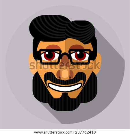 Face close-up - smiling hipster (flat style) - stock vector