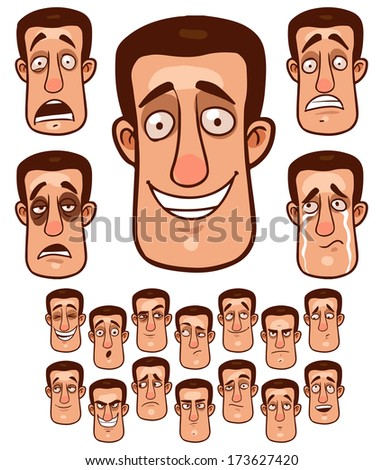 face emotions collection - stock vector